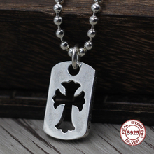 S925 Sterling Silver Men s Pendant Hollow cross jewelry tag Personality classics Trendy fashion Send a