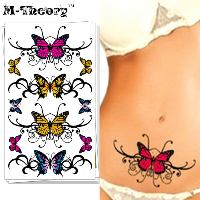 Sexy Charming Butterfly Temporary Tattoo Body Art Flash Tattoo Sticker 17*10cm Waterproof Henna Tatoo Selfie Fake Tattoo Sticker