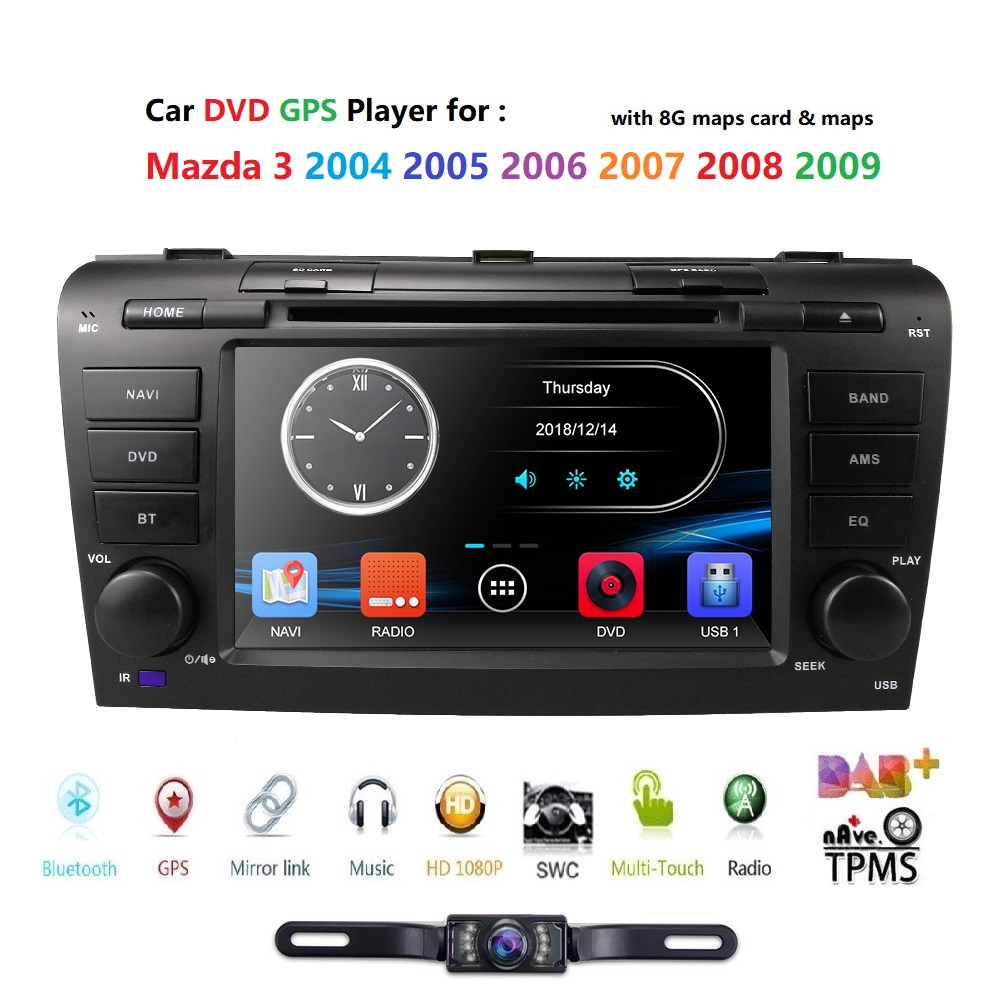 Free shipping Car DVD for Mazda <font><b>3</b></font> 2004-2009 navigation system multimedia system dvd car for Mazda3 Radio Player GPS DAB+TPMS CAM image