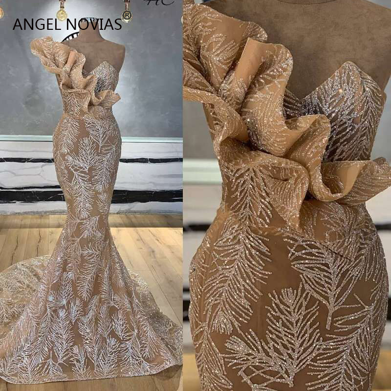 New Arrival Long Mermaid Champagne Glitters Abendkleider Arabic   Evening     Dress   2019 Robe De Soiree Longue 2018 Musulman