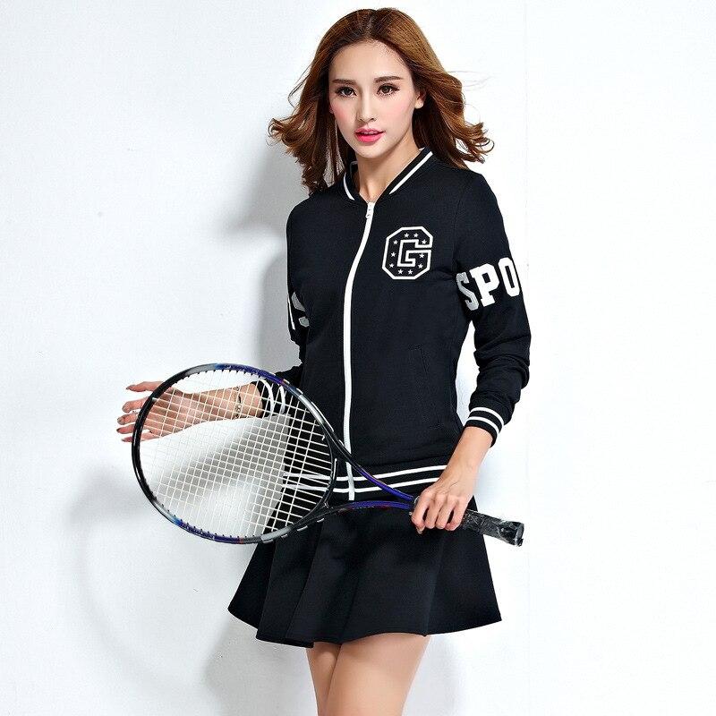ФОТО Spring Code Motion Two Piece Set Women's Long Sleeved Suit Spring Tide Tennis Baseball Uniform Skirt