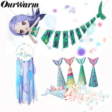 OurWarm Mermaid Party Supplies Theme Decor Banner Candy Box Bag For Kids Favor Happy Birthday