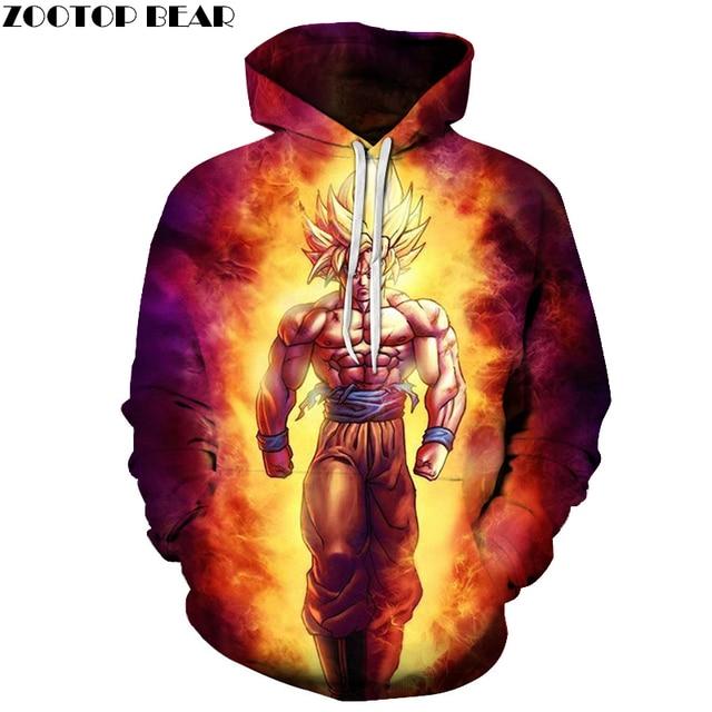 Anime Dragon Ball Z 3D Pullovers Men Women Pocket Hooded Sweatshirts Goku Hoodie