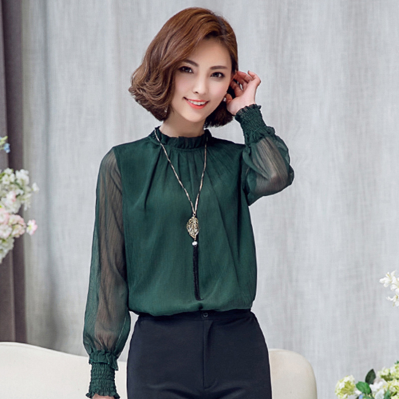 2016 autumn chiffon blouse women vintage shirt chemise. Black Bedroom Furniture Sets. Home Design Ideas