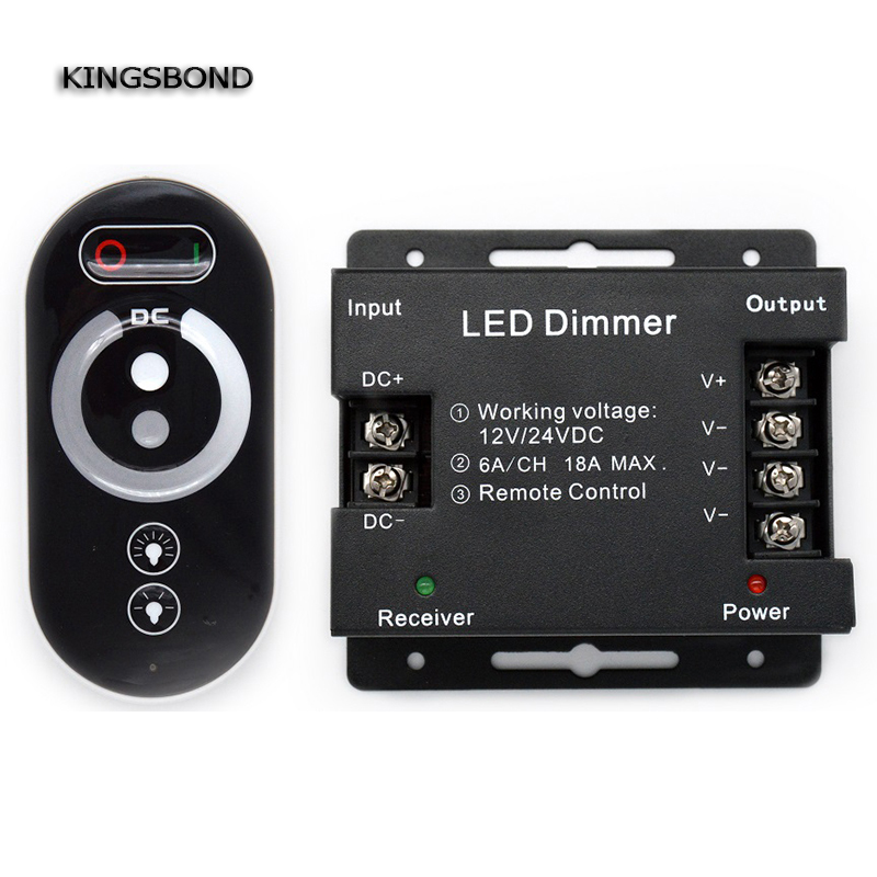 все цены на DC12V-24 3 channels  output  18A wireless Rf touch remote control brightness controller for single color led strip dimmer онлайн