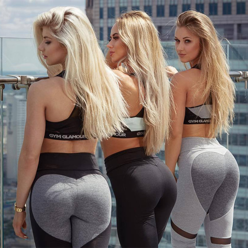 2019 sexy   leggings   fitness feminina heart push up leggins Love   legging   Patchwork legins Casual gymshark Polyester jegging waist