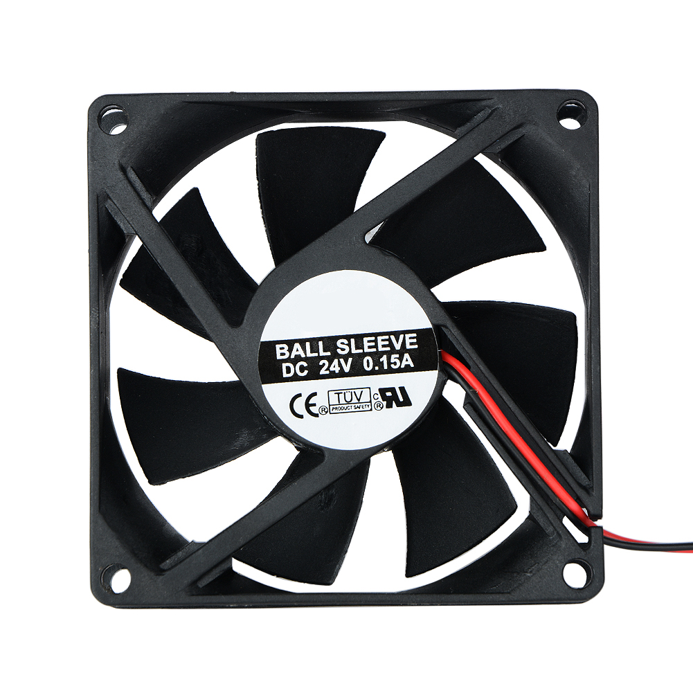 1 Pcs 2 Pin DC 24V 80x80x25mm 8025 Dual Ball Motor Cooling Fan 80mm x 25mm PC Case CPU Brushless Cooler 8cm