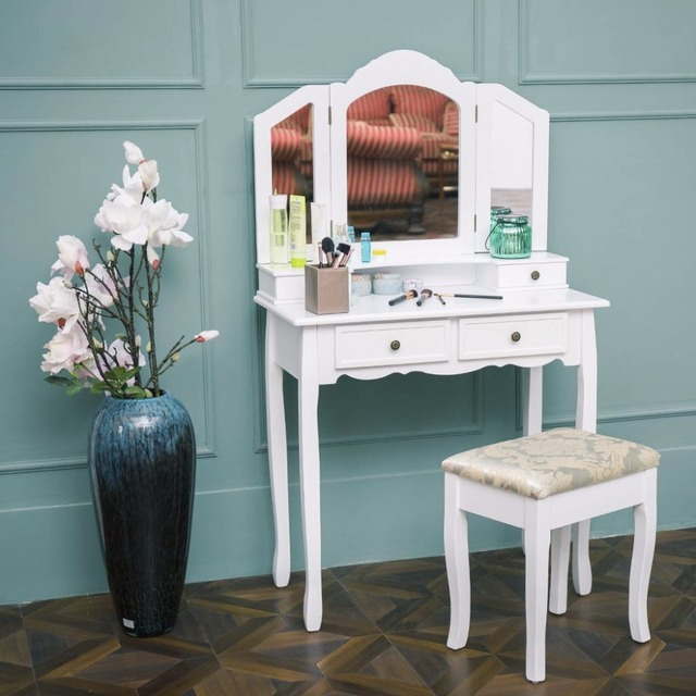 LANGRIA Makeup Dressing Table Vanity And Stool Set With Tri Fold Mirror 4  Drawers Curved