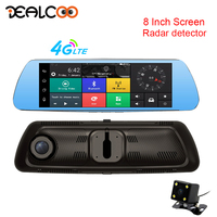 Dealcoo 8' Touch Screen Android Mirror Car DVR 3 in 1 Radar Detector Video Recorder Camera 4G Dual Lens 1080P Rearview Camera