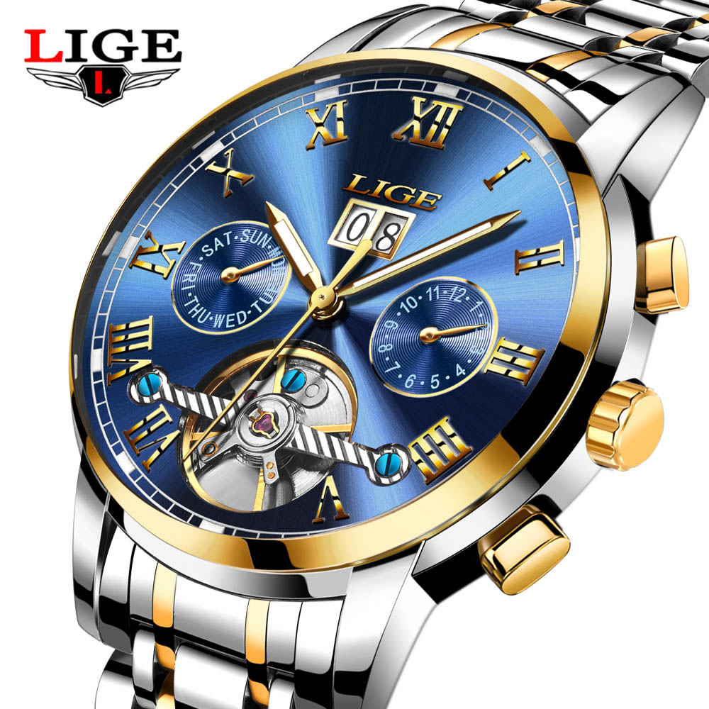 LIGE Brand Skeleton Mechanical Watch Men Hollow Fashion Luxury Stainless Steel Men Automatic Watch Male Clock relogio masculino forsining gold hollow automatic mechanical watches men luxury brand steel vintage skeleton watch clock relogio masculino hodinky