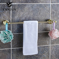 YANJUN Polished Golden Green Jade Stone Wall Mounted Single Towel Bars Towel Hanger Towel Rack 60CM