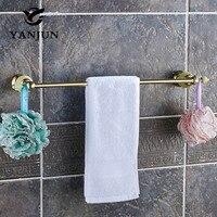 YANJUN Polished Golden Green Jade Stone Wall Mounted Single Towel Bars Towel Hanger Towel Rack 60CM