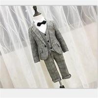 2018 New Children Suit Baby Boys Suits Kids Blazer Boys Formal Suit For Wedding Boys Clothes Set Jackets Blazer+Pants 3pcs 2 10Y