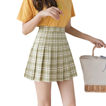 Women mini skirt Sweet Vintage High Waist A-Line Wild Plaid Print Pleated Skirt mini skirt