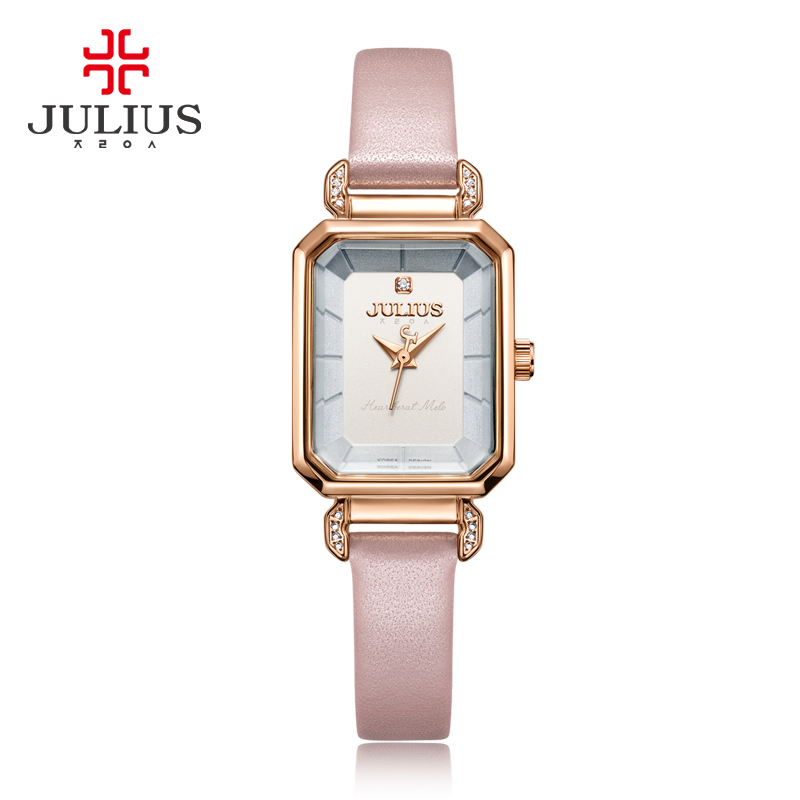 Julius Pink Watches For Women Leather Strap Rectangle Relojes Mujer With Rhinestone 2017 Winter New Arrivals