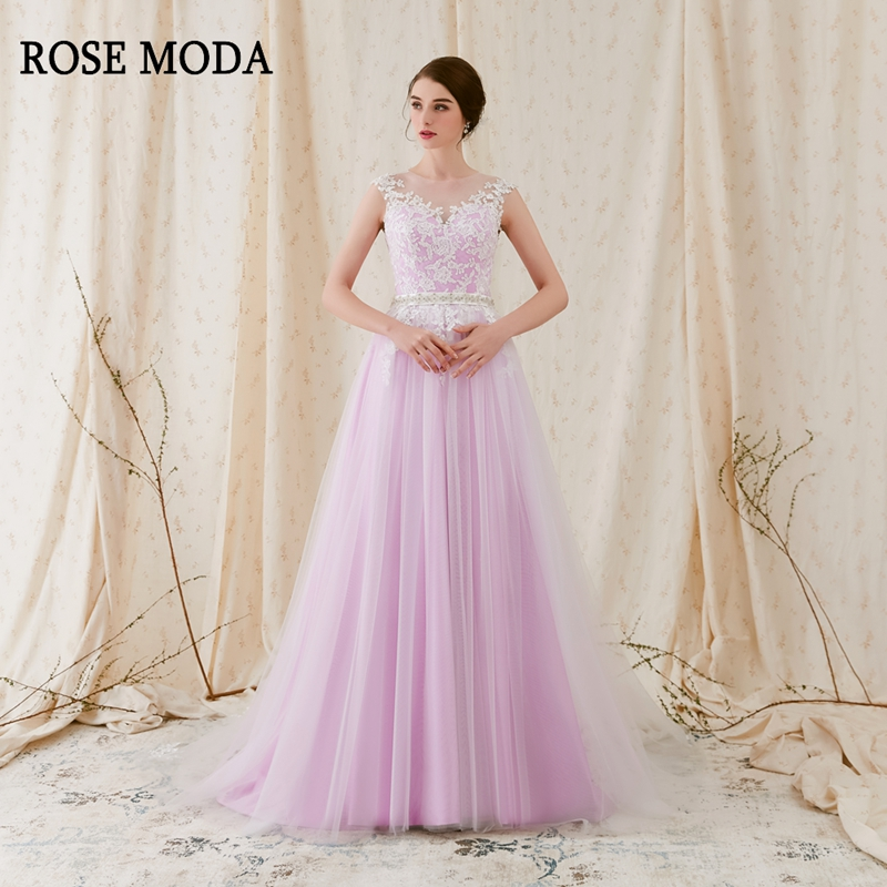 Rose Moda Lace Wedding Dress with Sleeves Tulle Beach Wedding Dresses Lilac Purple Wedding Dresses Real Photos