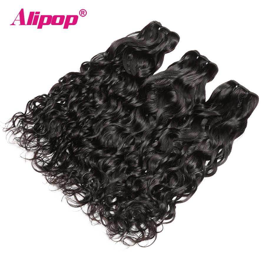 ALIPOP Water Wave Bundels Menselijk Haar Weave Bundels 3 Bundels Maleisische Remy Hair Extensions Natuurlijke Zwarte Kleur Kan Worden Geverfd