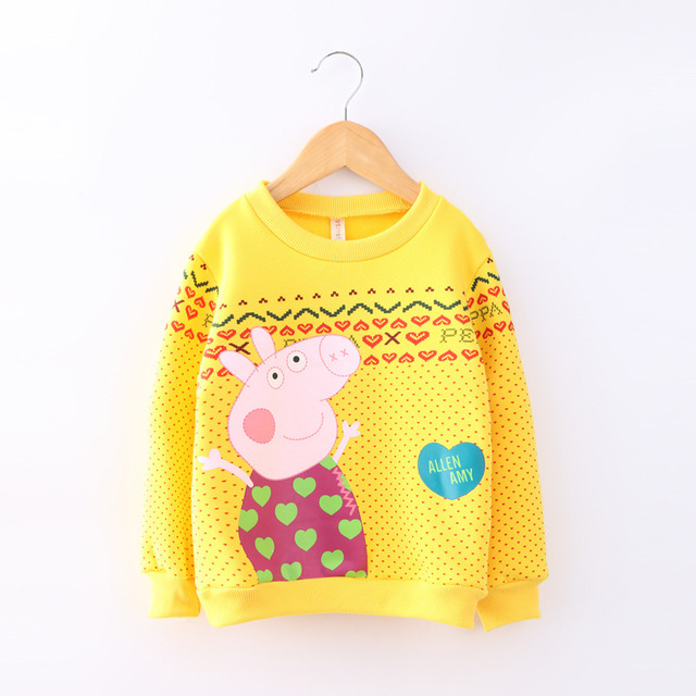 2016 autumn and winter new girls pullover plus velvet thick cartoon pig love printed cute babys hooded pullover clothes