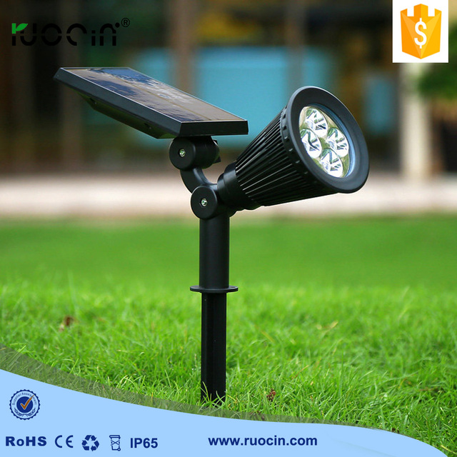 New Arrived Solar Spotlights 4 Led Outdoor Lights Garden Lawn Lamp Free Shipping