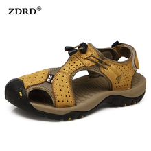 2017 Handmade Mens Sandals Genuine Leather Men Slippers Breathable Casual Men Leather Sandals Fashion Outdoor Shoes Size 39-45