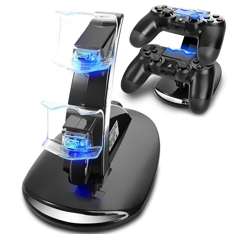 Dual Micro USB LED Charger Docking Station Charging Stand for Sony Playstation 4/Slim/Pro PS4 Joystick Controller