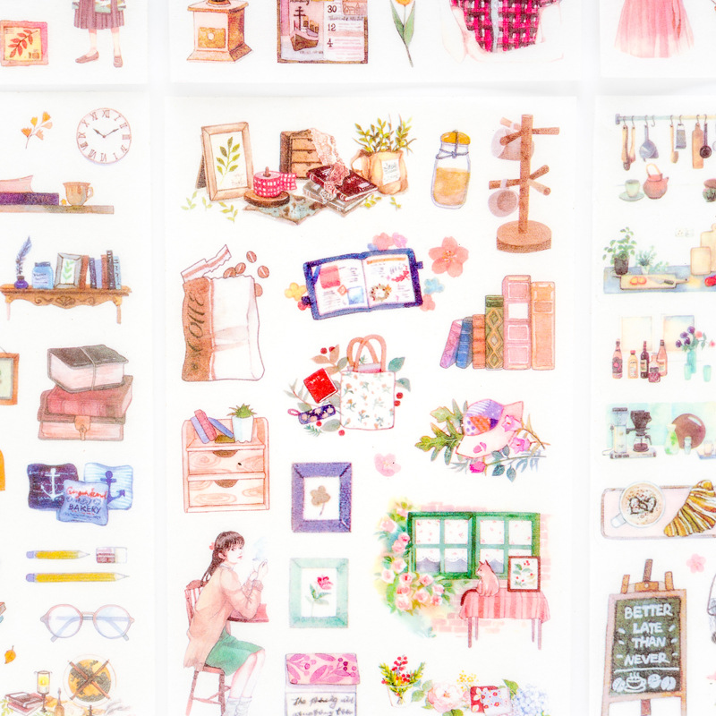6 Sheets/pack Cartoon Lovely Scrapbooking Diary, Album Phone Sticker Adhesive