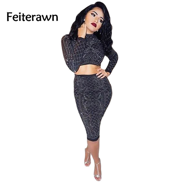 Feiterawn new spring Fashion  Women Clothing 2017 Black Two Piece Night Party Studded Long Sleeve Crop Top Skirt Set DL63009