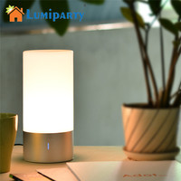 LumiParty LED Light Touch Sensor Table Bedside Lamp Dimmable 256 RGB Color Changing Aluminum Base Illumination