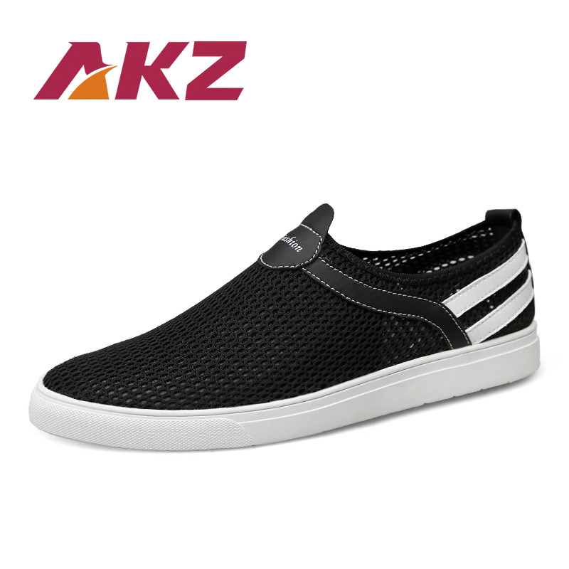 AKZ Summer Big size Men Casual shoes 2018 New Summer loafers Air mesh Breathable soles soft Light weight Comfortable Male shoes mvp boy brand 2018 new summer mesh air mesh men breathable loafers black shoes spring lightweight fashion men casual shoes
