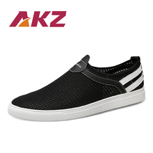 AKZ Summer Big size Men Casual shoes 2018 New loafers Air mesh Breathable soles soft Light weight Comfortable Male