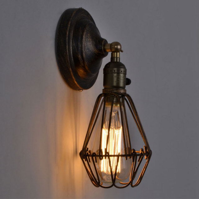 Rustic Wall Lamp Sconce Loft Light Fixtures Vintage Home Lighting Decor Led Bulb Cage Luminaire