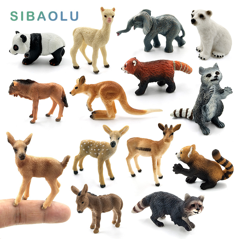 Simulation Mini Panda Elephant Raccoon Kangaroo Alpaca Deer Bear Donkey Wildebeest Animal Model Figurine Home Decor Fairy Figure