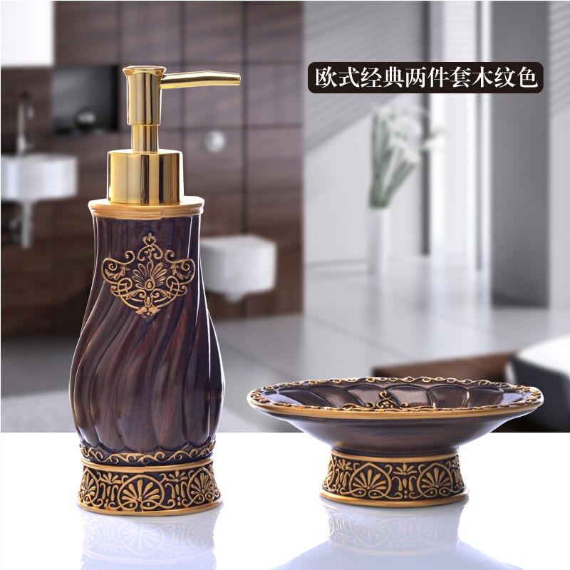 Bathroom Set piece European hand sanitizer bottle resin soap box toiletry single product Decoration toothbrush holder