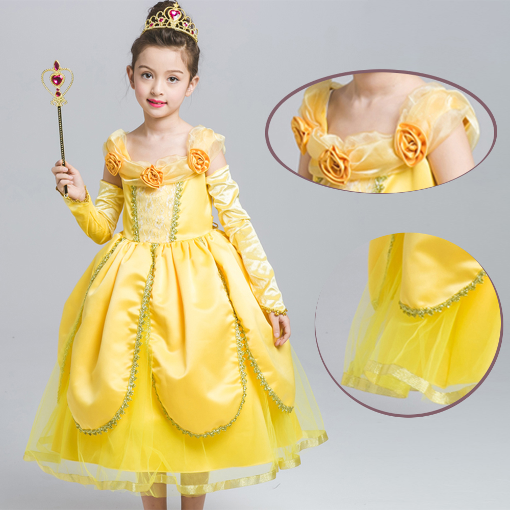 ee3a47be0bdd 2018 Hot Beauty and the Beast cosplay costume Princess Belle kids ...
