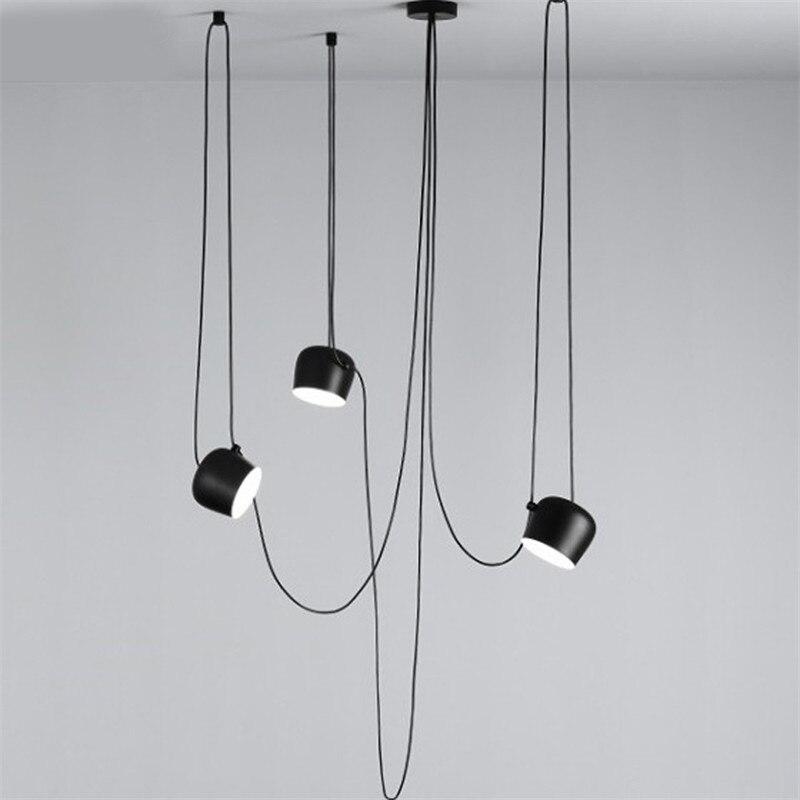 Nordic Anhänger Lichter LED Trommel Anhänger Lampe küche Leuchte Schwarz Aluminium Suspension wohnzimmer Hause Beleuchtung Hängen Lampe
