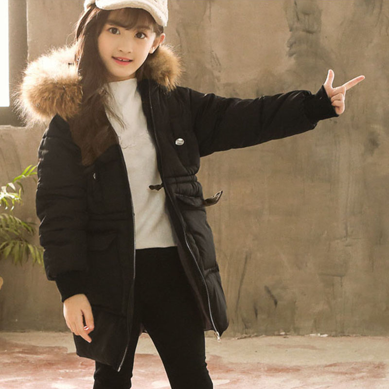 fur hooded warm parkas for teenage baby girls winter long jackets clothing new 2018 big pockets thick cotton children tops coats new 2018 fashion fur hooded long cotton jackets for little teenage girls outerwear tops kids thick warm coats padded clothing