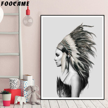 FOOCAME Indians Women Feather Abstract Nordic Posters and Prints Art Canvas Painting Home Decor Wall Pictures For Living Room