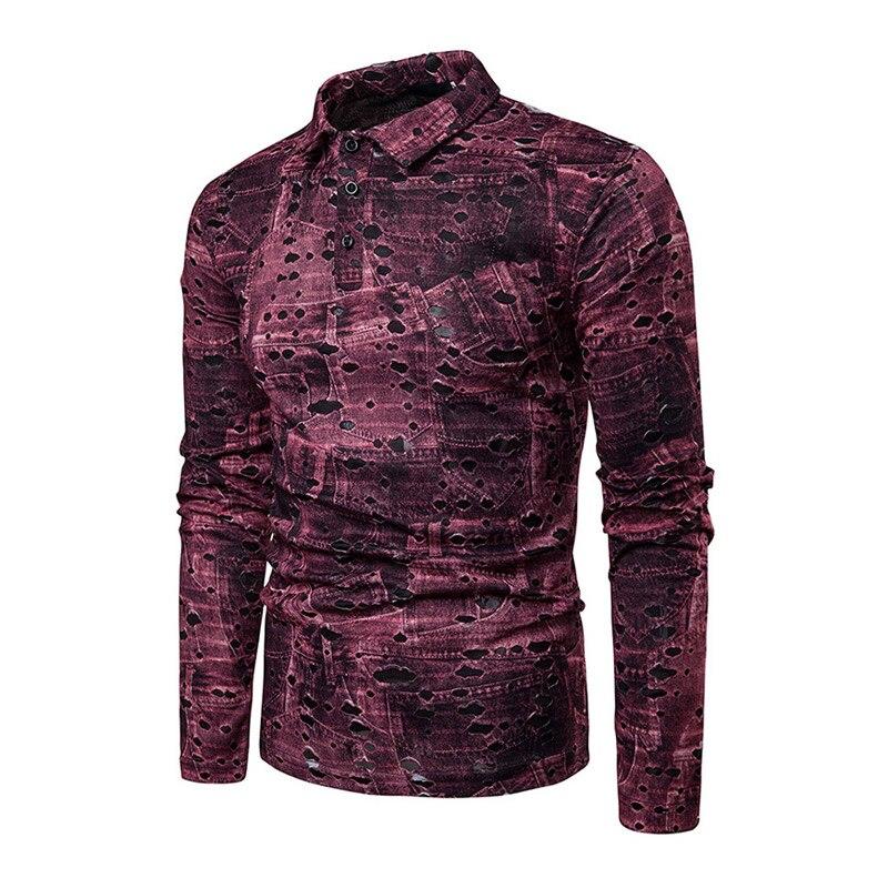 100% QualitäT 2019 Männer Frühling Print Shirts Mit Langen Ärmeln Drehen-unten Kragen Pullover Casual Männlichen Tops Lby2019