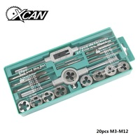 XCAN 20pcs Metric Tap and Die Set M3 M12 Screw Thread Plug Taps Alloy Steel Hand Screw Taps Hand Tools for Metal Working