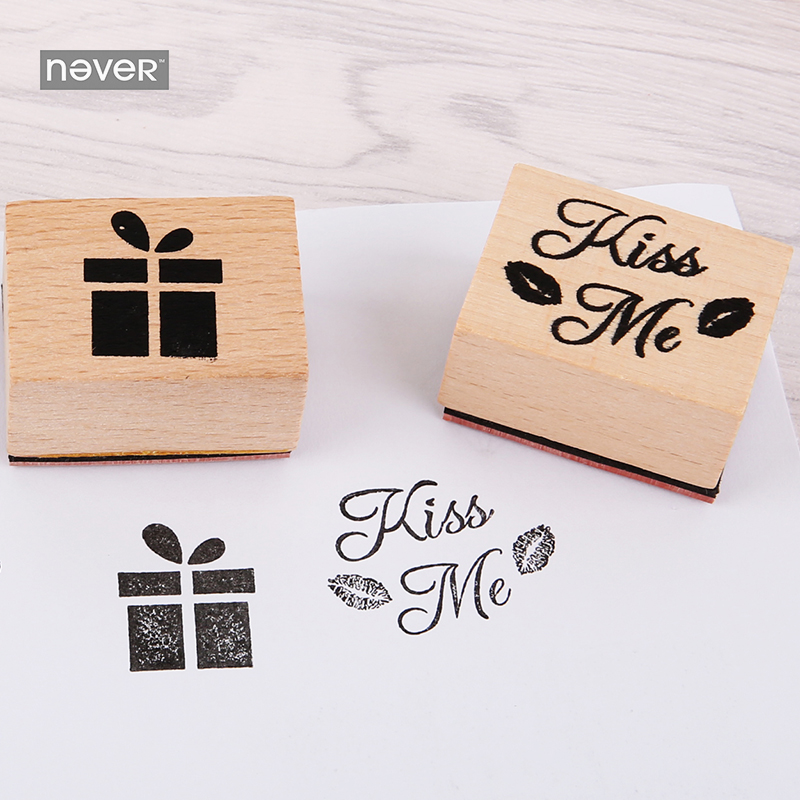 NEVER Stamp Gift Stationery set Wooden Rubber Stamp Set Diary DIY tool for scrapbooking Planner accessories korean stationery diy cute kawaii wooden stamp animal cat dog bird tree stamps set for diary photo album scrapbooking stationery free shipping 610 page 1