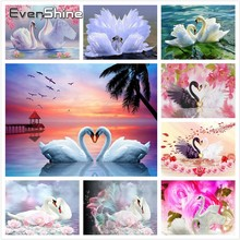 EverShine Diamond Embroidery Full Set Painting Square Swan Mosaic Pictures Of Rhinestone Hobby Art