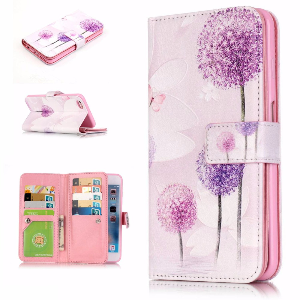 12 Patterns Embossing Design 9 Card Slots Luxury PU Leather Wallet Flip Case for Apple IPhone 5 5S SE 5C 6 6S 7 Plus Cover