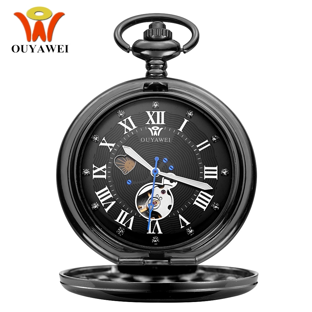 NEW Fashion OUYAWEI Mechanical Pocket Watches Men Full Steel Black Case Pocket Fob Watch Analog Steampunk Hombre Vintage Clock