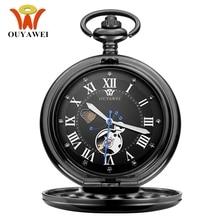 NEW Fashion OUYAWEI Mechanical Pocket Watches Men Full Steel Black Case Pocket Fob Watch Analog Steampunk