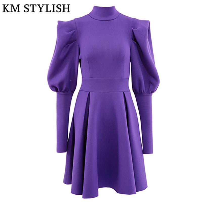 Automne et hiver vêtements nouveau femmes robe coréenne manches bouffantes col haut à manches longues espace coton noir violet robe
