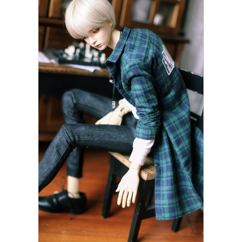 1/3 BJD Green Plaid Overcoat White Long Sleeve Pullover Black Denim Jeans Set Outfit Clothes for Normal 70cm Uncle Size Doll cool multi way zipper oblique buckle motorcycle leather jacket for bjd doll 1 3 sd17 uncle ssdf spirit ver 2 doll clothes cm3