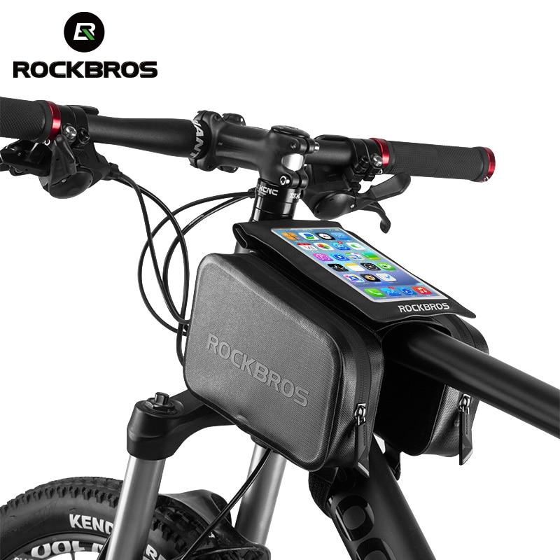 ROCKBROS Fahrradrahmen Vordere Leiter Top-schlauch-beutel Regendicht Bike Bag doppel Ipouch Radfahren Für unter 6,0 in Handy zubehör