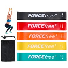 Forcefree+ 5 PCS Non-slip Resistance Loop Bands Set 100% Natural Latex Elastic Band for Fitness Expander with Carry Bag
