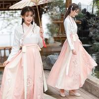 Chinese Han Dress Women Flowing Fresh and Elegant Improvement Antique Daily Dress Waistbands Skirt Set