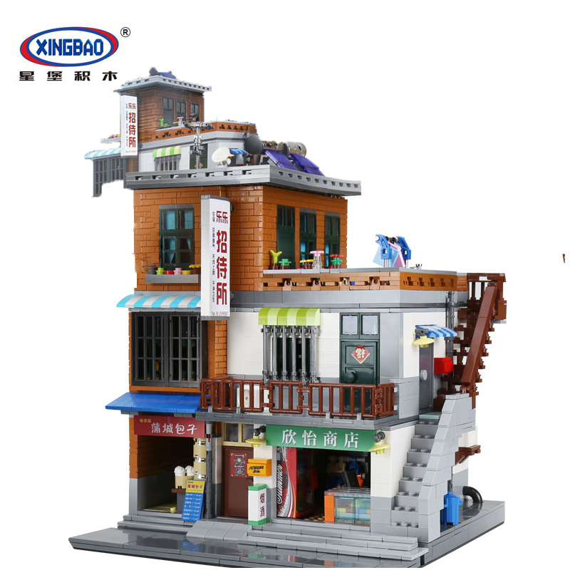 Genuine XingBao 01013 2706 pcs Creative MOC City Series The Urban Village Set Building Blocks Bricks Educational Toys Model Gift in stock xingbao 01013 2706 pcs genuine creative moc city series the urban village set building blocks bricks toys model gift